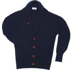 Cashmere Shawl Cardigan Sweater in Navy