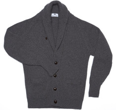 Cashmere Shawl Cardigan Sweater in Grey