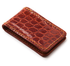 Glazed Alligator Money Clip in Cognac