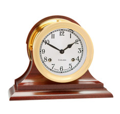 Chelsea Clock 4 1/2&quot; Shipstrike Clock in Brass on Traditional Base