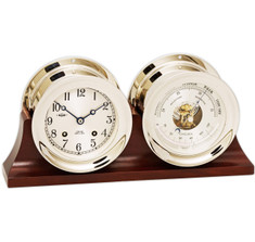 "Chelsea 4 1/2"" Ship's Bell Clock & Barometer in Nickel on Double Base"