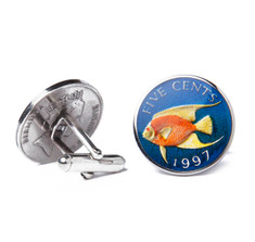 Bermuda Angel Fish Coin Cufflinks