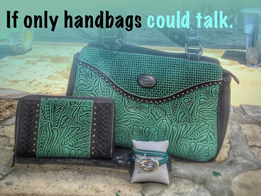 Western leather hand-tooled handbag with leather bracelet. If handbags could talk.