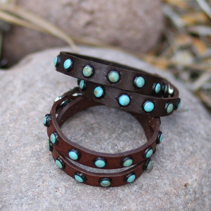 Dark Brown (top) and Brandy (bottom) Leather Bracelet | Turquoise