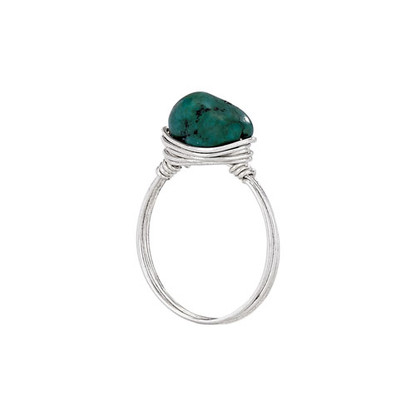 Turquoise Nugget Wire Wrap Ring | Sterling Silver