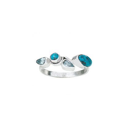 Turquoise | Blue Topaz Ring | Sterling Silver