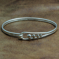 Sterling Silver Water Drop Bangle with Hook