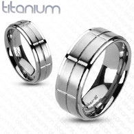 Titanium Ring   Brushed Cross Grooved Center Band