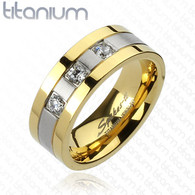 Titanium Ring   3 CZs   Gold IP Edges 2-Tone Brushed Center