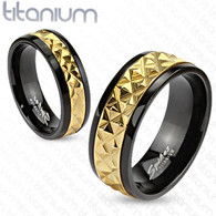 Titanium Ring   Gold Accented Band   Black Ring
