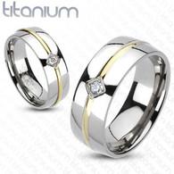 Titanium Ring   CZ   Gold IP Stripe Center