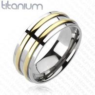 Titanium Ring   Double Gold Stripe
