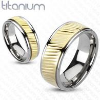 Titanium Ring   Diagonal Gold Grooves