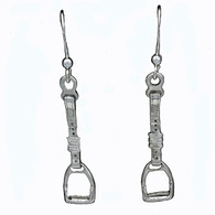 Stirrup Hanging on Leather Earrings | Sterling Silver