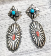 Coral and Turquoise Sterling Silver Dangling Earrings