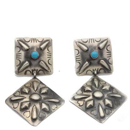 Turquoise Concho Earrings Diamond Shape