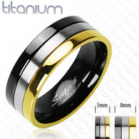 Solid Titanium Ring | Gold | Onyx Color