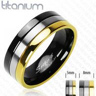 Solid Titanium Ring | Gold | Onyx Color