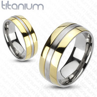 Solid Titanium 2-Tone Gold IP Edges Band Ring | 3042