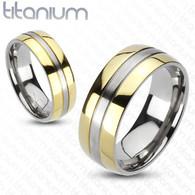 Solid Titanium 2-Tone Gold IP Edges Band Ring | 3042
