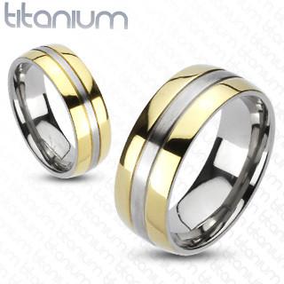 Solid Titanium 2-Tone Gold IP Edges Band Ring   3042