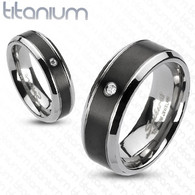 3582 Black Titanium Ring with CZ from Caracol Inspired Jewelry