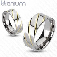 Titanium Diagonal Multi-Groove Couples Band Ring | Caracol