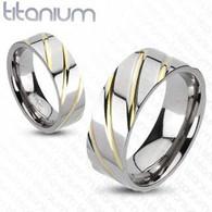 Titanium Diagonal Multi-Groove Couples Band Ring | Caracol