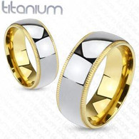 Titanium Band Ring | Grooved Edges | Gold Tone