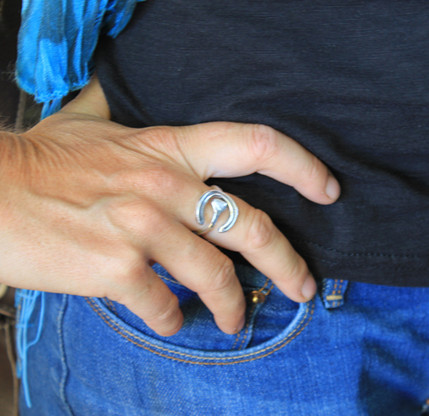Horse Shoe and Nail Ring   equestrian   jewelry