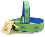 Blue Crab Dog Collars on Green at PawsPetBoutique.com