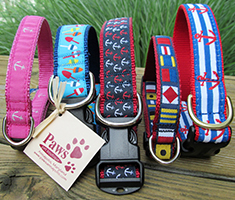 Nautical Dog Collars at Paws pet boutique