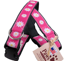 Soft Hemp Pink Daisy Dog Collars at PawsPetBoutique.com
