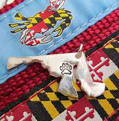 Maryland Paws Print Silver Charms