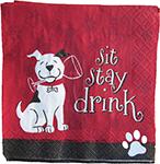 Dogs and Wine Cocktail Napkins