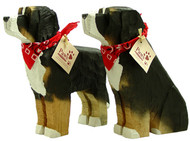 Carved Wood Bernese Mountain Dogs