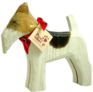 Carved Wood Wire Fox Terriers