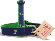 Green (on Navy) Palm Tree Dog Collars