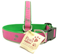 Green (on Pink) Palm Tree Dog Collars