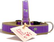 Green (on Purple) Palm Tree Dog Collars