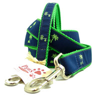 Green Palm Tree Dog Leashes (on navy)
