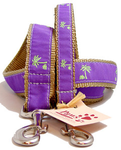 Green Palm Trees Purple Dog Leashes
