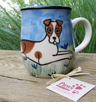 Hand-painted Jack Russell Mug made in USA.