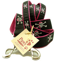 Pink Bandana Skull and Cross Bones Dog Leashes