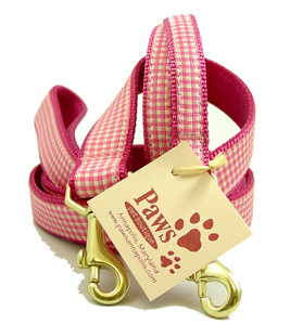 Pink Gingham Dog Leashes are American made.