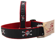 Red Bandana Skull & Cross Bone Dog Collars