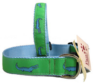 Blue Alligator on Green Dog Collars
