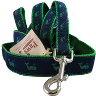 Green Whale on Navy Dog Leashes
