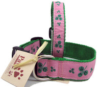 Shamrock Pink Dog Collars with Durable Quick Release Buckles.