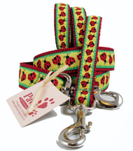 Red Ladybugs on Yellow Dog Leashes